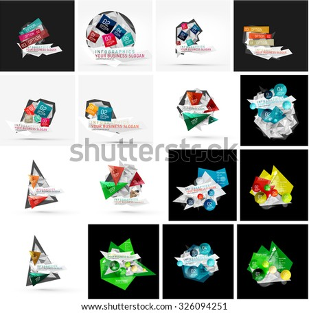 Set of various universal geometric layouts - backgrounds banner advertising layouts - templates, identity. Square, triangle, wave circle or swirl shape design - stock vector
