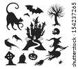 Set of various vector halloween design elements - stock vector