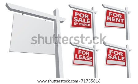 Set of Various Vector Real Estate Signs - Blank, For Sale By Owner, For Sale, For Rent and For Lease. - stock vector