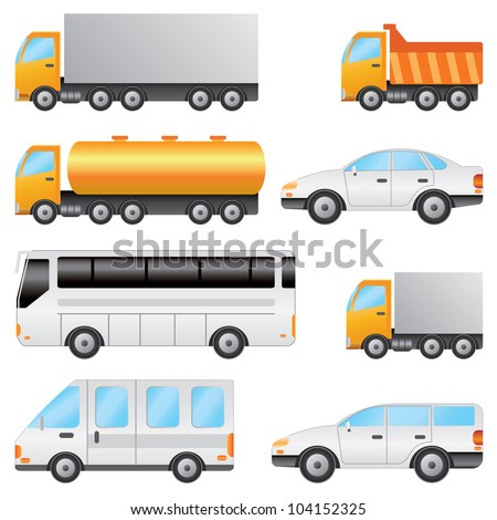 Set of various vehicles including bus, car, truck on the white background. - stock vector