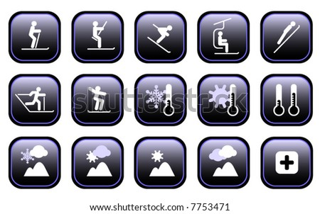 Set of various winter ski sports and weather icons. See File# 7753474 for Hi-res JPG version. - stock vector