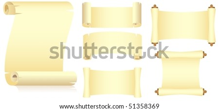 Set of various yellow scrolls, unwraped view. Isolated on a white. Vector illustration. - stock vector