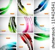 Set of 9 vector abstract backgrounds: flowing lines - stock vector
