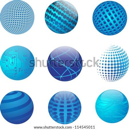 Set of vector abstract globe - stock vector