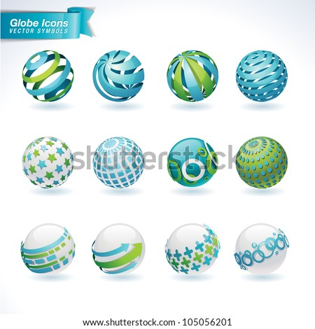 Set of vector abstract globe icons - stock vector
