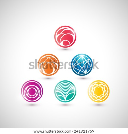 Set of vector abstract icons in asian style. - stock vector