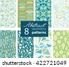Set Of 8 Vector Abstract Shapes Green Blue Repeat Seamless Patterns With Triangles, Arrows, Dots In Matching Prints. Perfect for scrapbooking, wallpaper, bedding, furniture, packaging. - stock vector