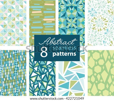 Set Of 8 Vector Abstract Shapes Green Blue Repeat Seamless Patterns With Triangles, Arrows, Dots In Matching Prints. Perfect for scrapbooking, wallpaper, bedding, furniture, packaging.