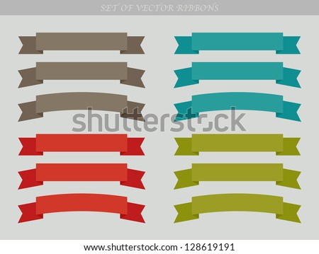 Set of vector ad ribbons - illustration - stock vector