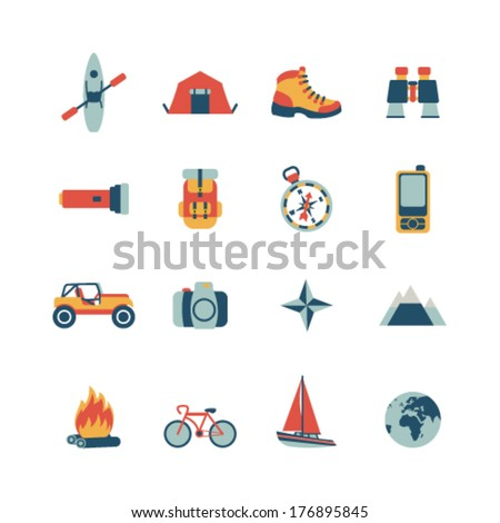 set of vector adventure traveling icons - stock vector