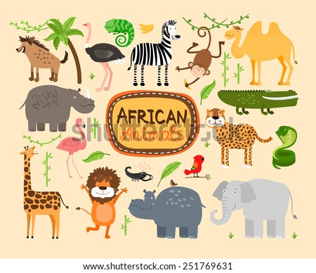 Set of vector african animals. Predators leopard and lion. Elephant and hippopotamus, giraffe and camel - stock vector