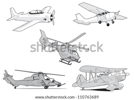 Set of vector air transport on white background - stock vector