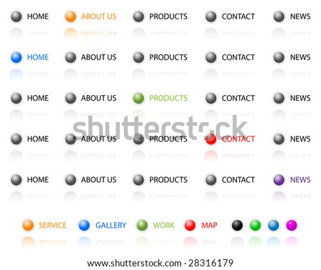 Set of vector aqua web 2.0 site navigation buttons. Easy to edit, any size. - stock vector