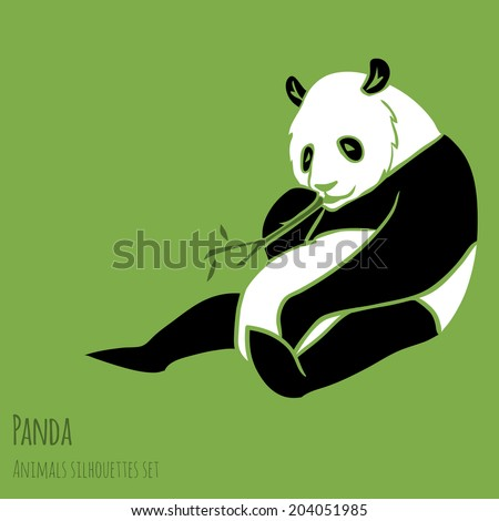 Set of Vector Asia Panda silhouettes black and white - stock vector