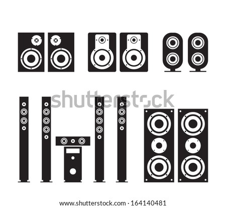 Set of vector audio speaker icons for smartphones and tablets. Applications, user interface, devices. Woofer, loudspeaker, surround system, hi-fi, hi-end illustration. Clean and modern style design - stock vector