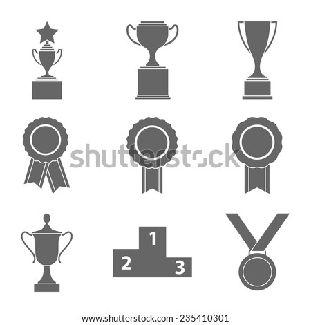 Set of vector award success and victory icons with trophies stars cups ribbons rosettes medals medallions wreath and a podium  - stock vector