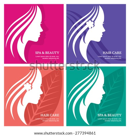 Set of vector background with beautiful woman face silhouette. Profile of the young girl. Abstract design concept for beauty salon, massage, cosmetic spa, greeting card for international women day.    - stock vector