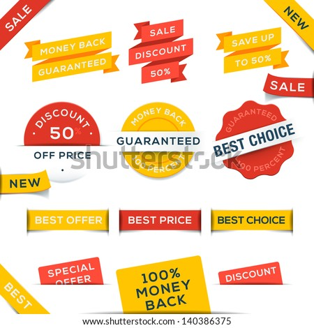 Set of vector badges and stickers, vector illustration. - stock vector