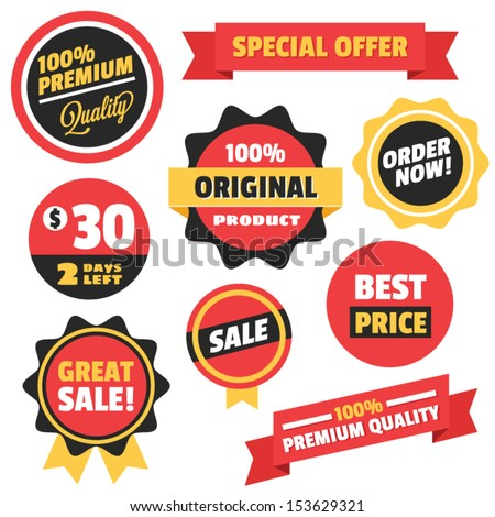 Set of Vector Badges Stickers and Ribbons - stock vector