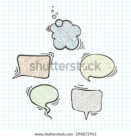 Set of vector balloons for text. Text bubbles. Doodle - stock vector