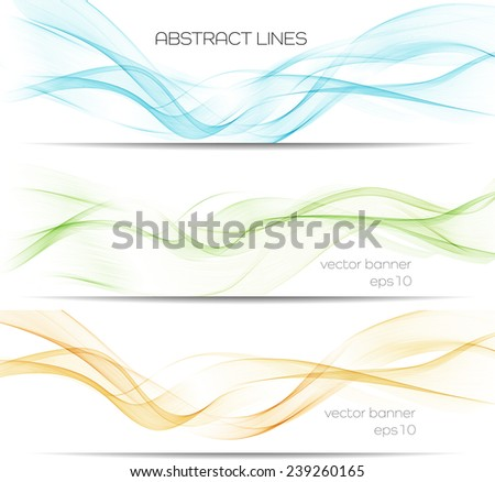 Set of vector banner with abstract lines - stock vector