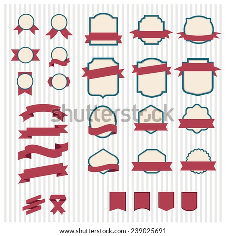 Set of vector banners and labels red-green and beige striped background in vintage style - stock vector