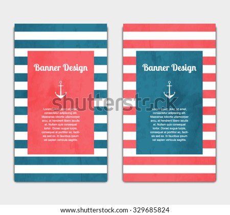 Set Vector Banners Template Nautical Marine Stock Vector 329685824 ...