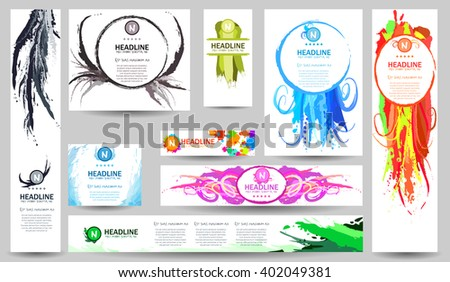 Set of Vector Banners Templates with Watercolor Paint Splash. Flat Style Web and Info graphic Icons. Abstract  Wash Drawing Background for Business Card, Posters Placards. Marine Underwater patterns.