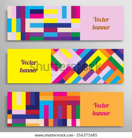 Set of vector banners with abstract geometric colored shapes - stock vector