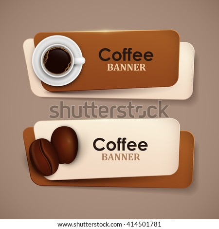 Set of vector banners with coffee. - stock vector