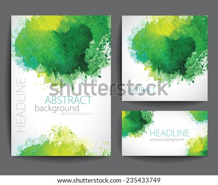 Set of Vector  Banners with Green Watercolor  Splash. Abstract Background for Business,  Flyers and Posters.  - stock vector