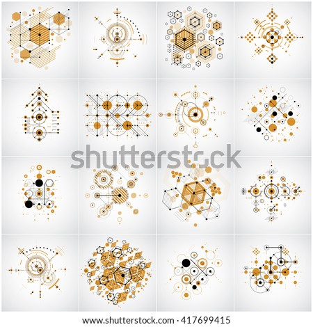 Set of vector Bauhaus abstract backgrounds made with grid and overlapping simple geometric elements, circles and honeycombs. Retro style artworks, graphic templates for advertising poster. - stock vector