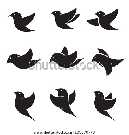 Set of vector bird icons on white background, Bird Icon, Vector bird for your design. - stock vector