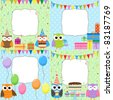 Set of vector birthday cards with cute owls. - stock vector
