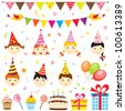 Set of vector birthday party elements with cute kids - stock vector