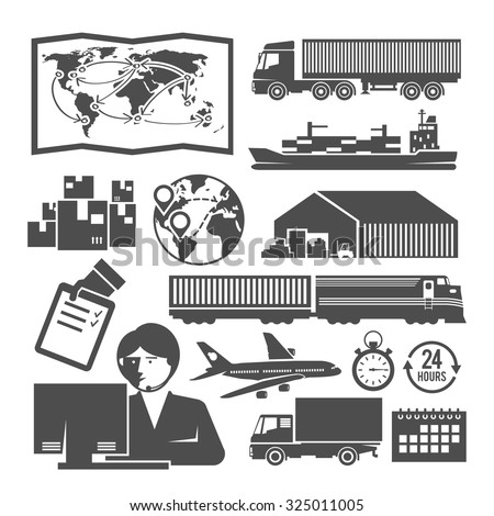 Set of vector black and white icons on the theme of logistics, freight, trucking, warehouses, storage of goods, insurance. - stock vector