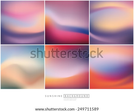 Set of 6 vector blurred backgrounds. - stock vector