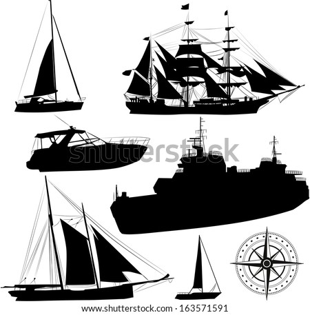 Set of vector boat silhouettes  - stock vector