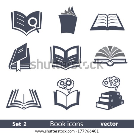 Set of vector book icons. - stock vector