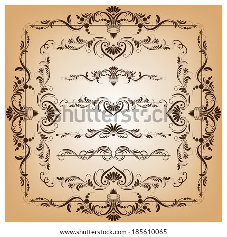 Set of vector borders and frames for design, filigree ornaments - stock vector