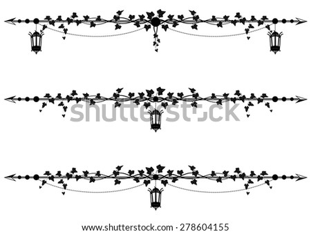 set of vector borders with street lamp and ivy - stock vector