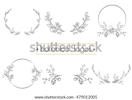 Set of vector botanical logo on the blurred background. Logo for floral shop or natural organic cosmetics. Brand identity Hand drawn illustration