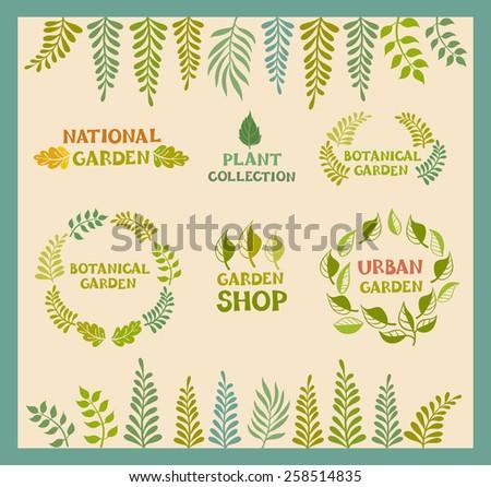 Set of vector botanical round leafer backgrounds. Flora poster designs, botanical garden, urban garden, national garden, garden shop, plant collections logo. Vector illustration, hand-drawn style. - stock vector