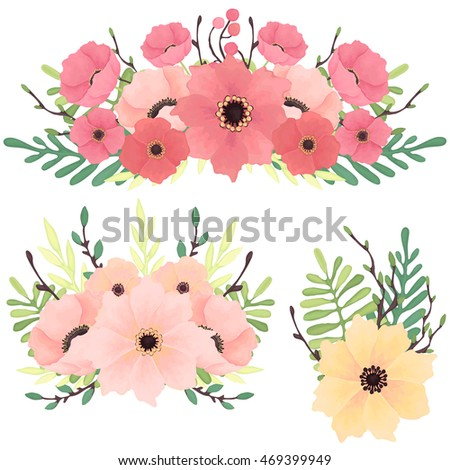 Set of Vector Bouquets with Yellow, Red and Pink Flowers