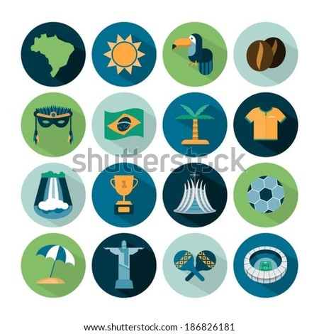 set of vector Brazil icons - stock vector