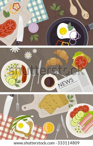 Set of vector breakfast time illustration with flat icons. Fresh food and drinks in flat style. Top view of healthy breakfast - stock vector