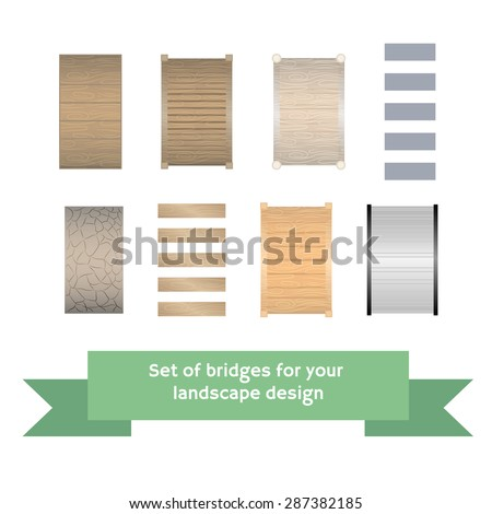 Set of vector bridges. Collection for landscaping, top view, plan. Architectural forms of small type. - stock vector