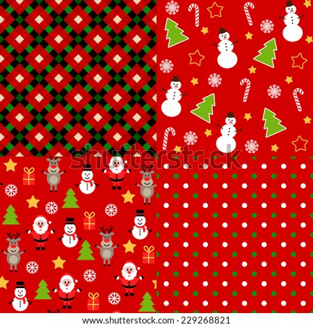 Set of vector bright christmas patterns. - stock vector