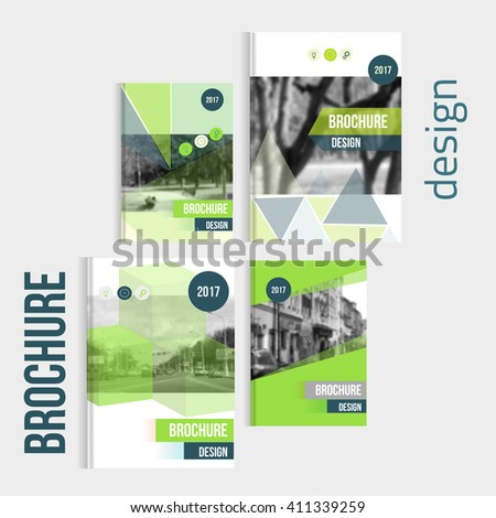 Set of Vector brochure cover templates with blured city landscape. Business brochure cover design, flyer brochure cover, professional corporate brochure  cover - stock vector