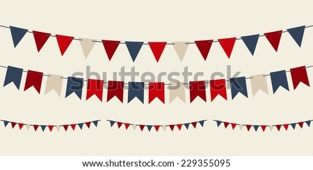 Set of vector bunting party flags for your designs (birthday party, christmas)  - stock vector